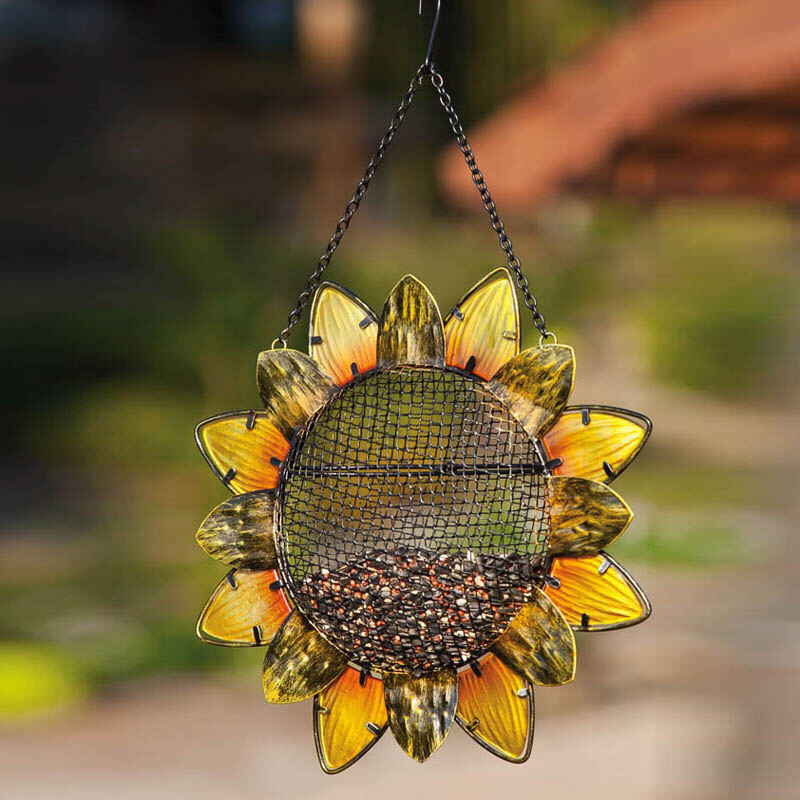 Sunflower Metal & Glass Hanging Bird Feeder